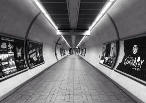 Mindset in Health Marketing in the Underground/tube - black and white