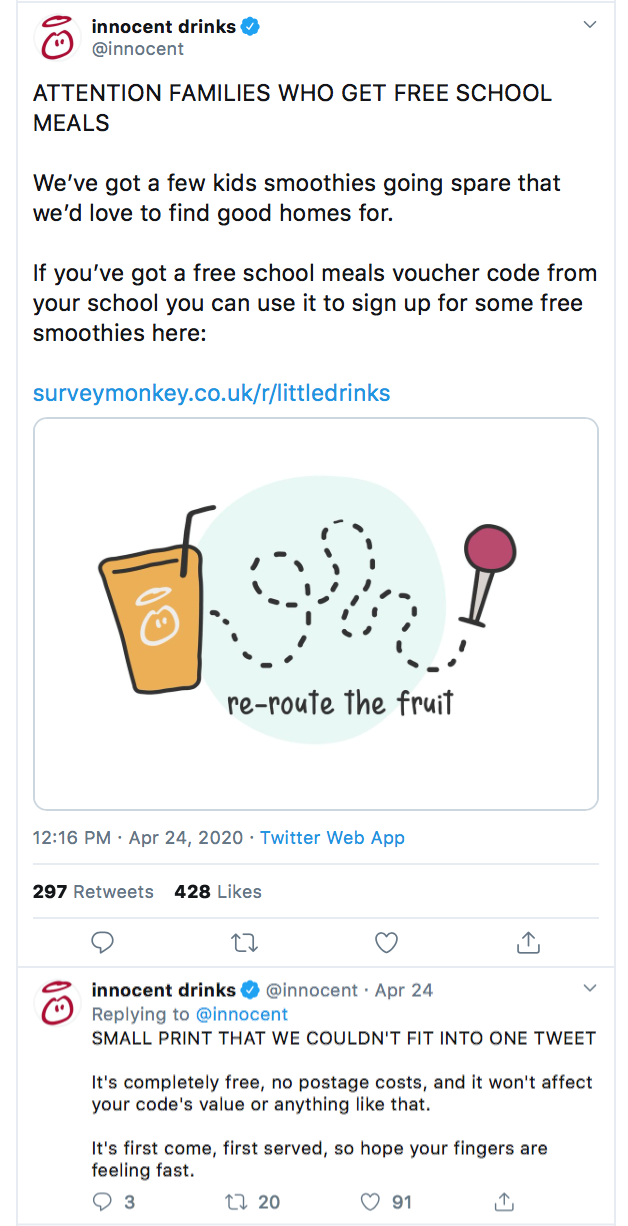 Innocent drinks - free school meals email