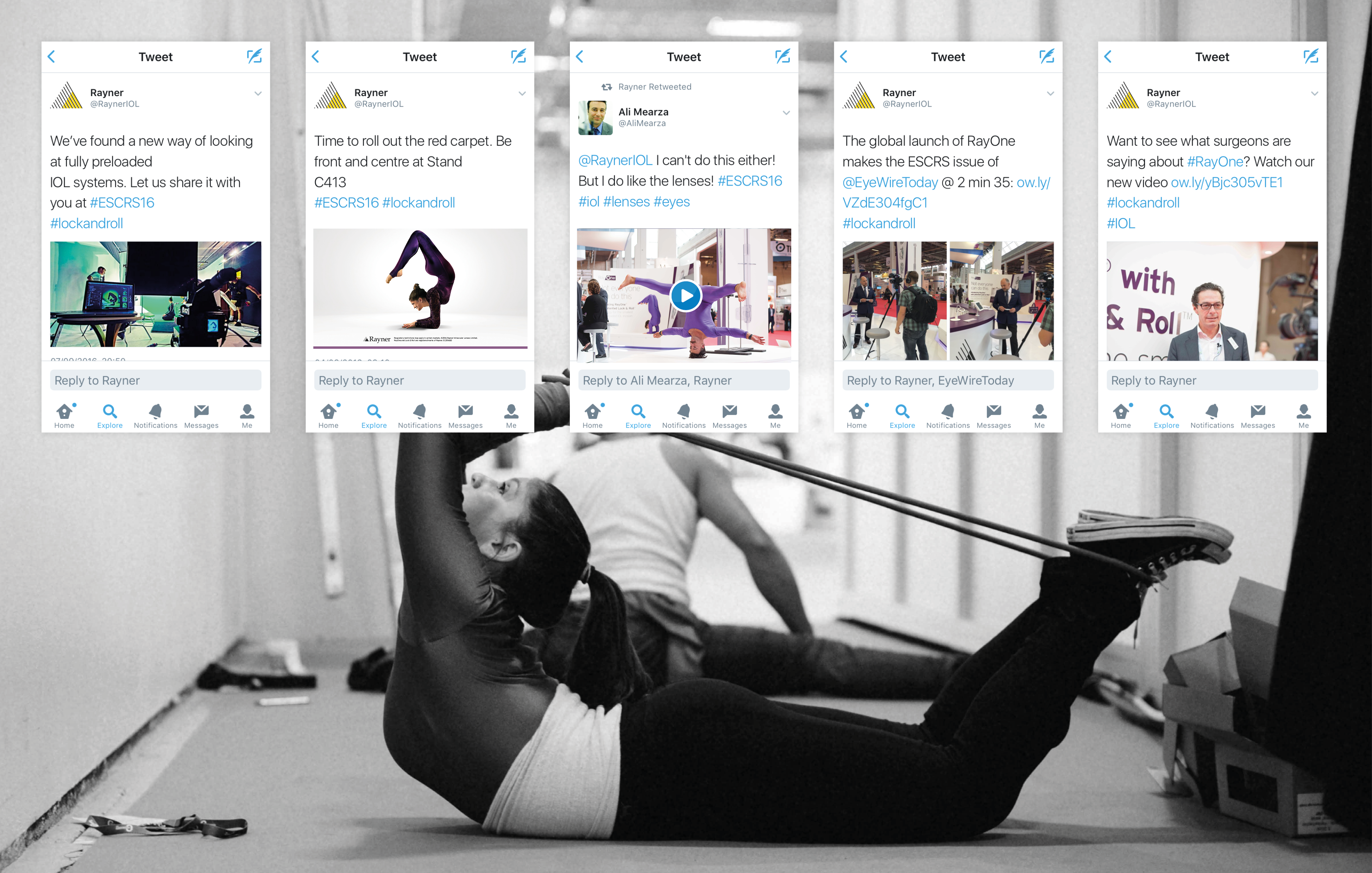 Girl doing yoga - Rayner Ray One Twitter campaign example